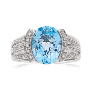 14K White Gold .25ct Diamond & Blue Topaz Oval Split-Shank Ring