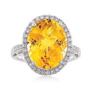 14K White Gold 3/8ct Diamond & 8.08ct Citrine Large Round Raised Fancy Ring