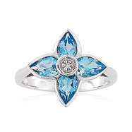 14K White Gold .005ct Diamond & Blue Topaz Flower Petal Design Fancy Ring