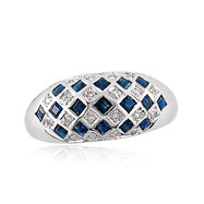 14K White Gold .08ct Diamond & 1.05ct Sapphire Diamond-Shaped Domed Ring