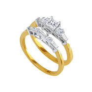 14K Two-Tone Gold 1.63ct With .50ct Center Bridal Ring Set