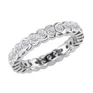 14K White Gold 2ct Half-Bezel Eternity Band G-H SI
