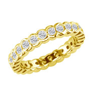14K Yellow Gold 4ct Half-Bezel Eternity Band G-H SI