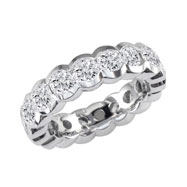 14K White Gold 5ct Half-Bezel Eternity Band G-H SI