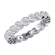 14K White Gold 1ct Overlapping Bezel Eternity Band G-H SI