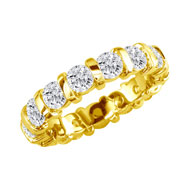 14K Yellow Gold 4ct Bar Eternity Band G-H SI