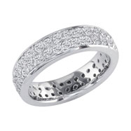 14K White Gold 3/4ct Pave Look Eternity Band G-H SI