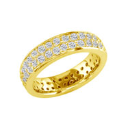 14K Yellow Gold 2ct Pave Look Eternity Band G-H SI
