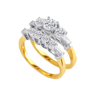 14K Two-Tone Gold 1.37ct With 1/2ct  Center Bridal Ring Set