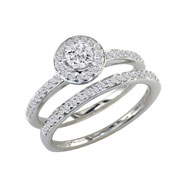 14K White Gold 1ct Round Diamond Bridal Ring Set
