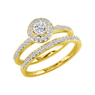 14K Yellow Gold 1.5ct Round Diamond Bridal Ring Set
