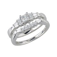 14K White Gold 1.0ct 3-Diamond Bridal Ring Set
