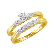 14K Yellow Gold 1.5ct Round Traditional Diamond Ring Bridal Set