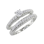 14K White Gold 1/2ct Updated Fishtail Diamond Bridal Ring Set