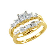 14K Yellow Gold  1.0ct Princess & Baguette Diamond Bridal Ring Set