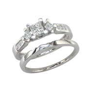 14K White Gold 3/4ct Princess Cut Diamond Ring Bridal Set