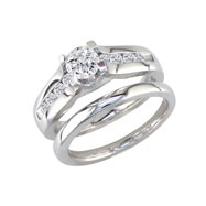 14K White Gold  3/4ct Round Diamond Peaked Bridal Ring Set