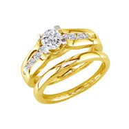 14K Yellow Gold 1.5ct Round Diamond Peaked Bridal Ring Set
