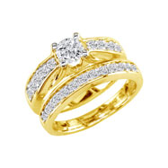 "14K Yellow Gold 1.0ct Round ""M"" Peaked Bridal Ring Set"