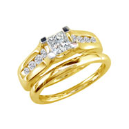 14K Yellow Gold  1/2ct Princess Cut Diamond Peaked Bridal Ring Set