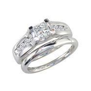 14K White Gold 1.0ct Princess Cut Diamond Peaked Bridal Ring Set