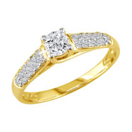 14K Yellow Gold  1 1/4ct  Center With Pave' Shoulder Diamond Ring