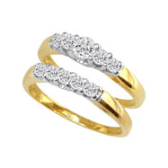 14K Two-Tone Gold 1.09ct Diamond Bridal Ring Set