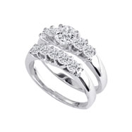 14K White Gold 1 1/2ct Diamond Bridal Ring Set With 1/2ct Diamond Center