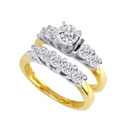 14K Two-Tone Gold 1 1/2ct Diamond Bridal Ring Set With 1/2ct Diamond Center