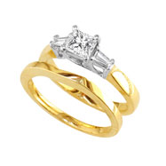 14K Two-Tone Gold 1/2ct Diamond Bridal Ring Set With 1/4ct Diamond Center