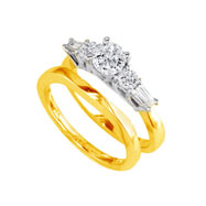 14K Two-Tone Gold 3/4ct Diamond Bridal Ring Set With .40ct Diamond Center