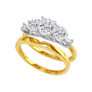 14K Two-Tone Gold 1.29ct Bridal Ring Set With .65ct Diamond Center