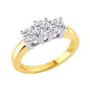 14K Two-Tone Gold 1.25ct Diamond Large Ring G-H SI3-I1