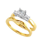 14K Two-Tone Gold 1ct Bridal Ring Set With 1/2ct Diamond Princess Center