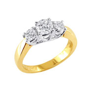14K Yellow Gold 1.00ct Diamond  Side Ring G-H SI3-I1