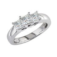14K White Gold 1.00ct Diamond Princess Cut  Side Ring G-H SI3-I1