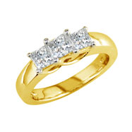 14K Yellow Gold 1.00ct Diamond Princess Cut  Side Ring H-I I2