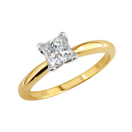 14K Yellow Gold 1ct Princess Solitaire Ring G-H SI3-I1