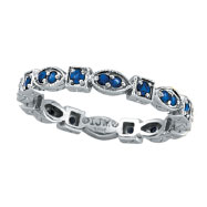 14K White Gold Blue Sapphire Stackable Eternity Band