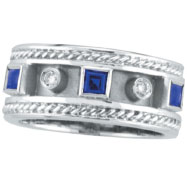 14K White Gold Antique Style Sapphire & .06ct Diamond Ring
