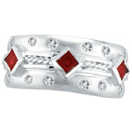 14K White Gold Antique Style Ruby & .22ct Diamond Fashion Ring