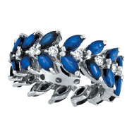 14K White Gold Blue Sapphire and .63ct Diamond Eternity Ring Band