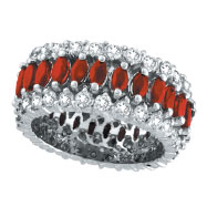 14K White Gold 2.39ct Diamond and Ruby Eternity Band