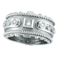 14K White Gold Antique Style Detailed .34ct Diamond Ring