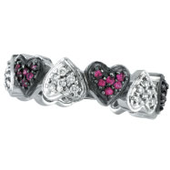 14K White Gold Pink Sapphire and .25ct Diamond Heart Eternity Ring