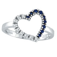 14K White Gold .13ct Diamond & .13ct Sapphire Heart Ring