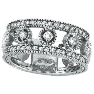 14K White Gold .91ct Diamond Oval Spotted Eternity Ring Band