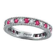 14K White Gold .50ct Diamond and .51ct Pink Sapphire Ring Band