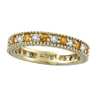14K Yellow Gold 0.50ct Diamond and 0.40ct Yellow Sapphire Eternity Ring Band