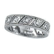 14K White Gold .33ct Diamond Prong Setting Ring Band